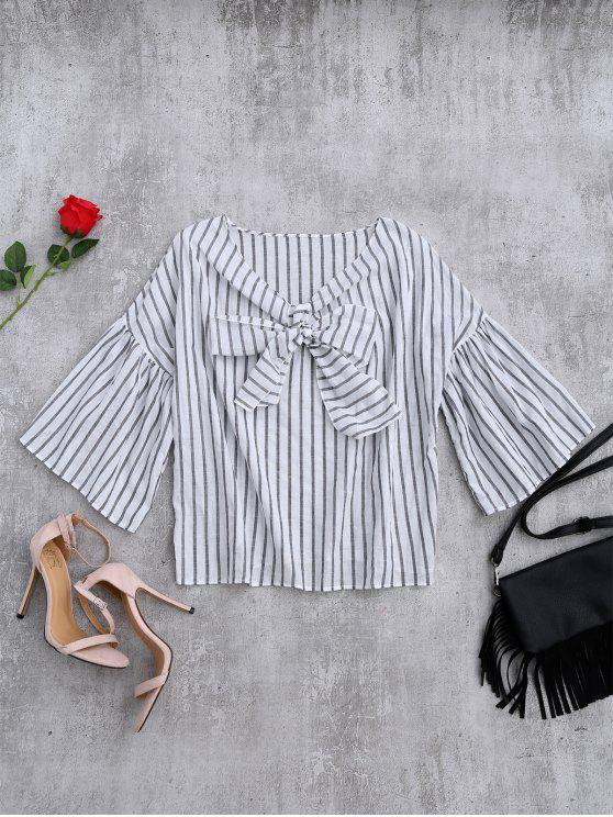 buy Striped Flare Sleeve Knot Front Top - WHITE AND BLACK ONE SIZE