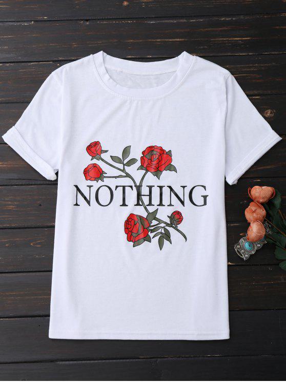 وردة قصيرة الأكمامو  Nothingتيشيرت طباع ة - أبيض XL
