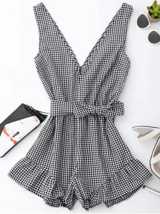womens Checked Plunge Romper - BLACK XL