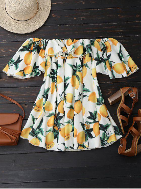 Vestido de Playa con Estampado de Limón con Hombros al Aire con Volantes - Blanco S