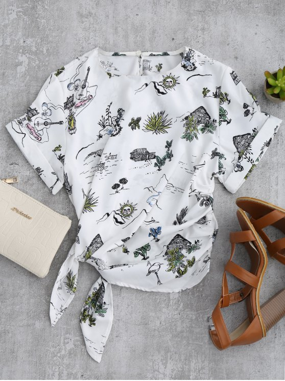 unique Printed Side Tie Poplin Top - WHITE S