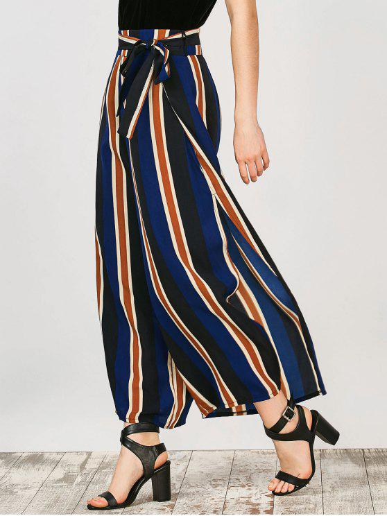 women Striped Wide Leg Palazzo Pants - STRIPE XL