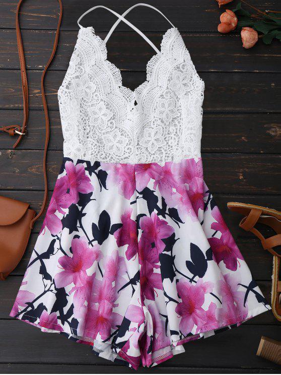 best Open Back Lace Floral Wide Leg Romper - WHITE S