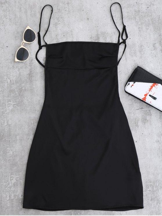 Mini Vestido de Tirantes Finos sin Espalda - Negro M