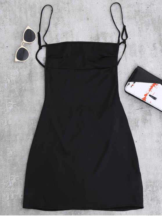 Backless Mini Slip Dress Black S