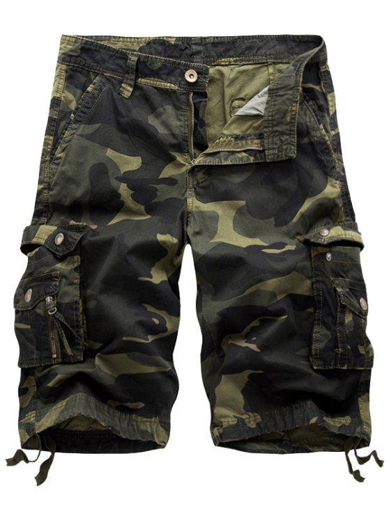 السراويل كامو البضائع مع جيوب متعددة - الجيش الأخضر 38