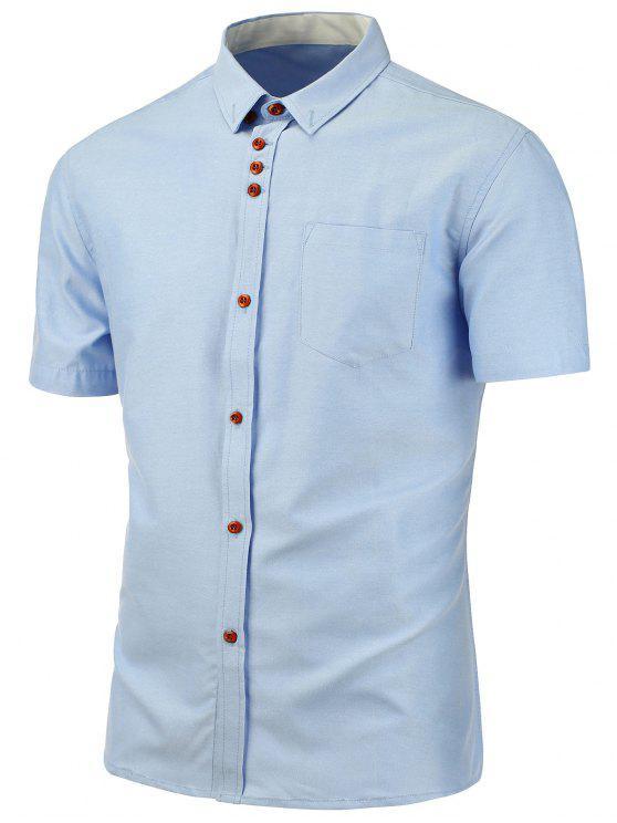 Camicia a maniche corte tasca sul petto - Azzurro XL