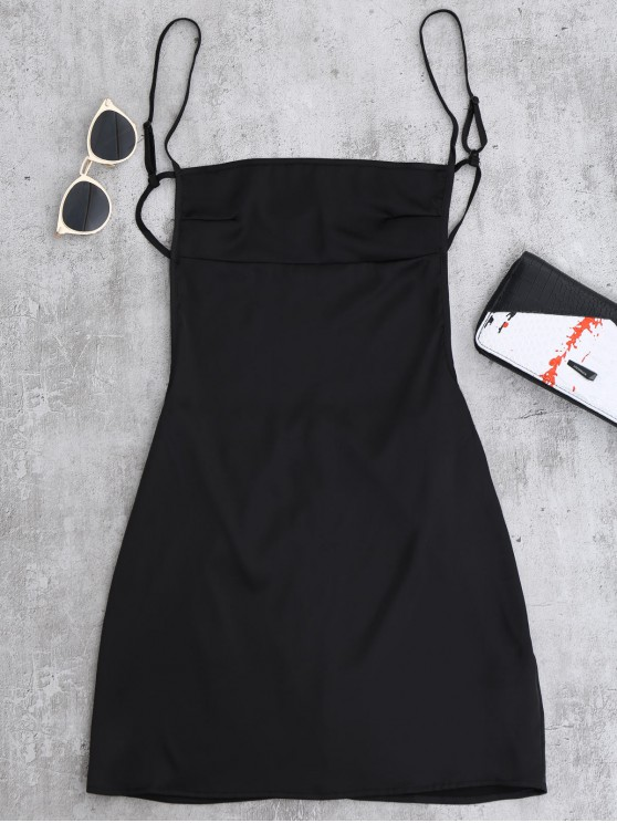 shop Backless Mini Slip Dress - BLACK S