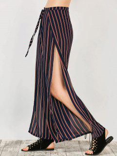 High Split Wide Leg Palazzo Pants - Stripe S