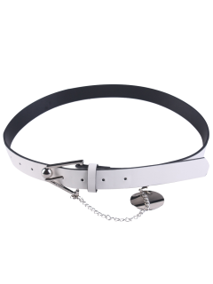 Metal Trangle Buckle Link Faux Leather Waist Belt - White