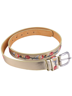 Ethnic Flower Embroidery Faux Leather Wide Belt - Golden
