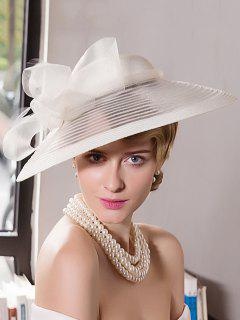 Wide Brim Organza Bowknot Cocktail Hat - Off-white