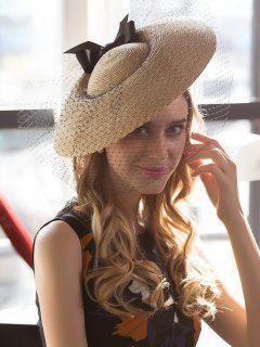 Cinta Bowknot Malla Velo Paja Cóctel Sombrero - Palomino
