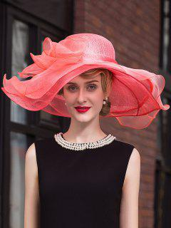 Oversize Brim Organza Flower Fedora Hat - Watermelon Red