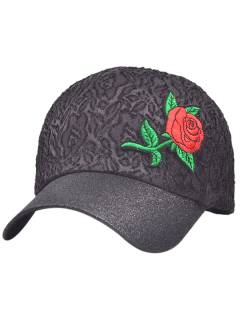 Chinoiserie Rose Embroidery Sunproof Baseball Cap - Black