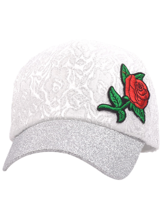 Chinoiserie Rose Embroidery Sunproof Baseball Cap - White