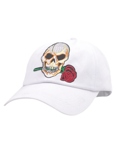 Cráneo Rose Embroifery Sunscreen Gorra De Béisbol - Blanco