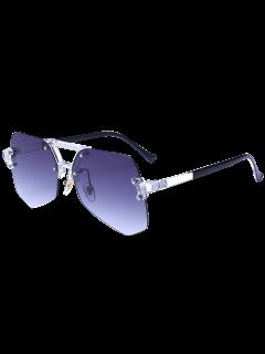 Ombre Diaphanous Geometric Rimless Gafas De Sol - Gris