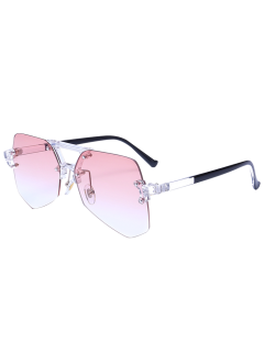 Rimless Ombre Transparent Geometric Sunglasses - Transparent Pink Frame + Pink Lens