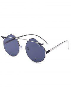 Alloy Crossbar Cat Eye Mirrored Cut Sunglasses - Silver Frame + Black Lens