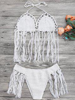 Tasselled Halter Crochet Bathing Suit - White