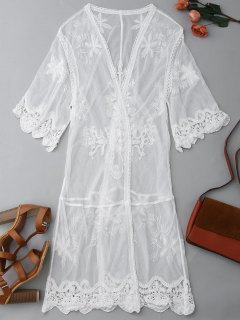 Sheer Lace Open Front Kimono Dust Coat - White M