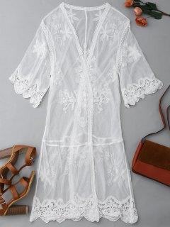 Sheer Lace Front Kimono Dust Coat - Blanco M