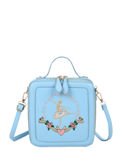Ballerina Embroidered Box Handbag - Light Blue