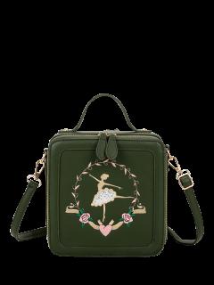 Ballerina Embroidered Box Handbag - Blackish Green