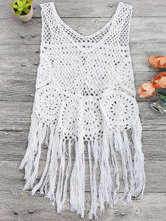 Tasselled Beach Crochet Cover Up Tank Top - White