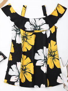 Floral Vestido De Verano De Hombro Frío - Negro Xl
