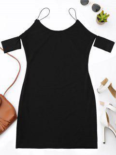 Cold Shoulder Spaghetti Strap Dress - Black S