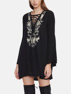 Embroidered Lace Up Tunic Dress - Black S