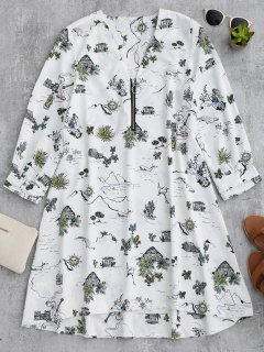 Half Zip Landscape Print Casual Dress - White L