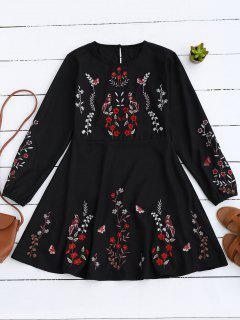 Floral Embroidered Vintage A-Line Dress - Black S