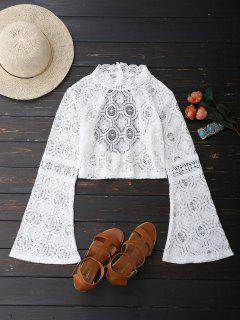 Low Back Flare Sleeve Lace Crop Top - White L
