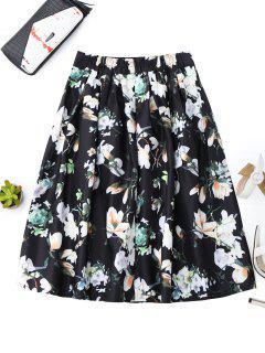 A Line Floral Skirt - Black