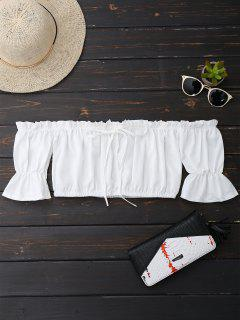 Off Shoulder Drawstring Cropped Top - White M