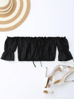 Off Shoulder Drawstring Cropped Top - Black M