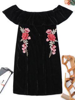 Off Shoulder Ruffle Floral Bodycon Dress - Black S