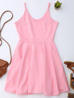 Spaghetti Straps Skater Dress - Pink M