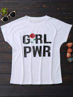 Short Sleeve Rose Graphic T-Shirt - White L