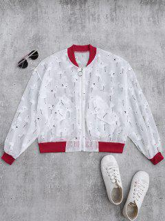 Crane Color Block Sunblock Baseball Jacket - Red L