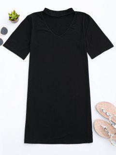 Vestido Recto De Camiseta  Con Gargantilla - Negro S