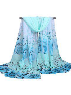 Fancy Rose Cirrus Impreso Gasa Bufanda Bufanda - Azul Claro