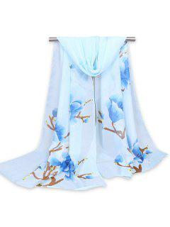 Chinoiserie Flowering Branch Printed Shawl Scarf - Light Blue