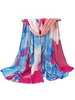 Fancy Multicolour Flowers Pattern Gossamer Shawl Scarf - Rose Red