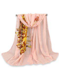 Belleza Cuadro Pintado Impreso Gossamer Shawl Bufanda - Rosado Claro