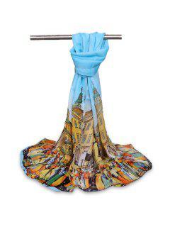 Cartoon City Life Chiffon Gossamer Shawl Scarf - Light Blue