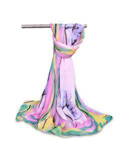 Vintage Watercolour Flowers Chiffon Gauze Shawl Scarf - Light Purple